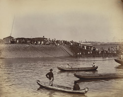 View of Musjid subsidiary dam, when being closed [Victoria Dock construction, Bombay].